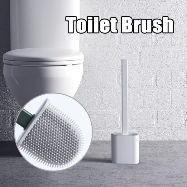 Silicone Wc Toilet Brush Wall Mounted Flat Head Flexible Soft Bristles Brush With Quick Drying Holder set for Bathroom Accessory