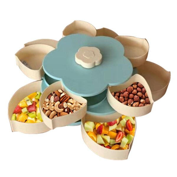 Creative Flower Petal Fruit Plate Candy Storage Box 5 Grids Nuts Snack Tray Rotating Flowers Food Gift Box for Party Wedding